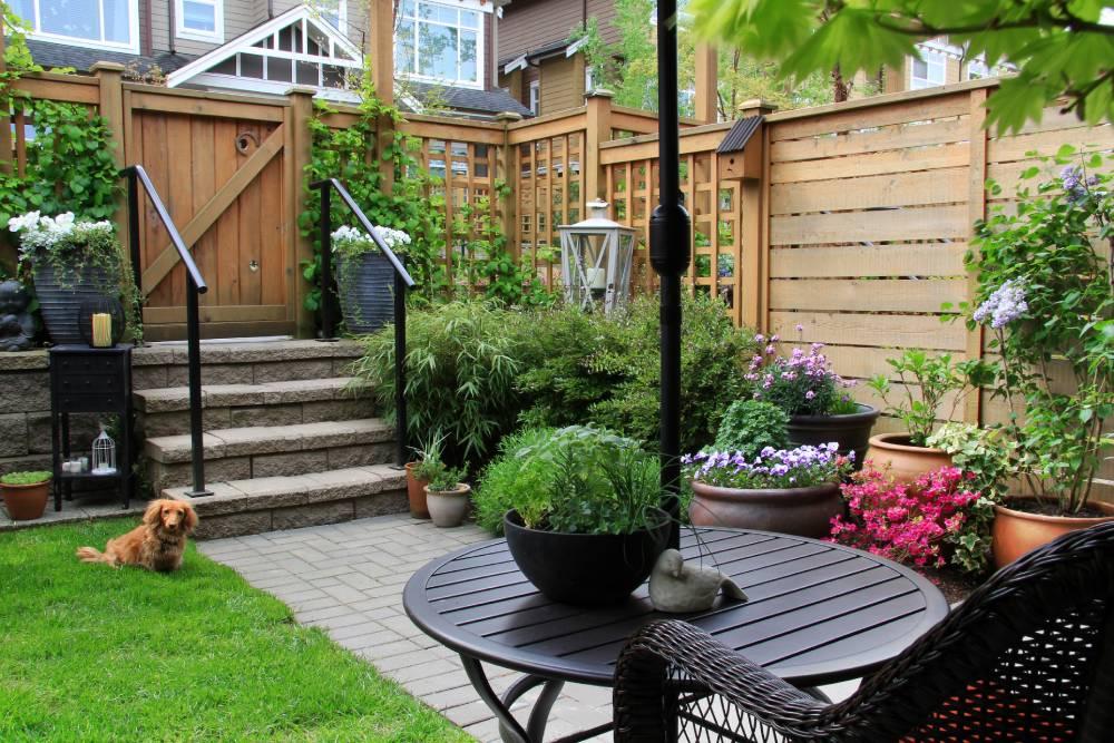 Doniczki w ogrodzie