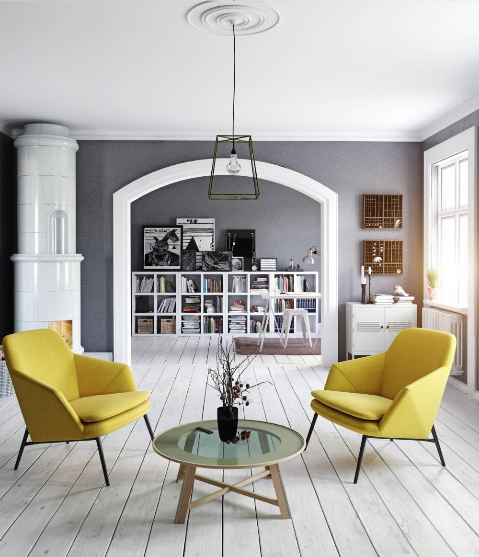 Wnętrze w kolorze-szarym i żółtym